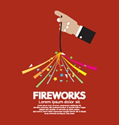 Burning Sparkler Firework In Hand vector