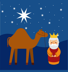Cartoon wise king with camel manger traditional vector