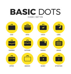 Case flat icons set vector