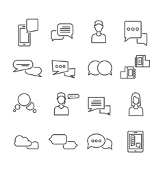 Chat Black White Linear Icons Set vector image