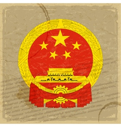 Chinese flag on an old sheet of paper vector