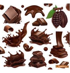 Chocolate set splashes pieces and chocolate vector