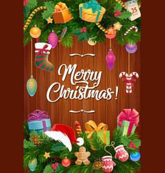Christmas gifts stocking and santa hat garland vector