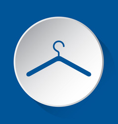 clothes hanger - simple blue icon on white button vector image