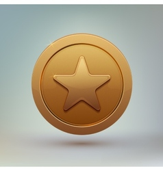Coin with star isolated on gray background vector image