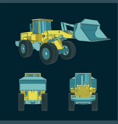 Colorful heavy loader blueprints vector