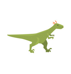Cute cartoon green dinosaur character jurassic vector