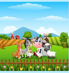 Cute farm animals on the hills vector