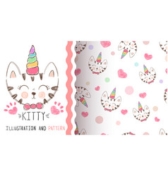 cute kitty unicorn - seamless pattern vector image