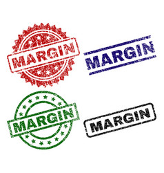 Damaged textured margin seal stamps vector
