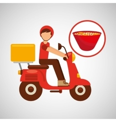 Delivery boy ride motorcycle ramen vector