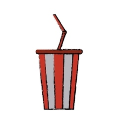 Drawing plastic cup soda with straw drink american vector