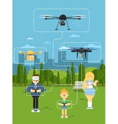 Drone aircraft template with flying robots vector image