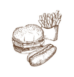 engraved fast food burger and hot dog french fries vector image