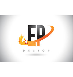 ep e p letter logo with fire flames design and vector image