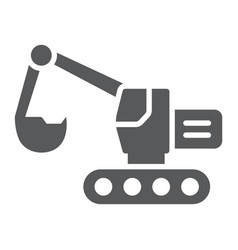 excavator glyph icon transport and machine vector image
