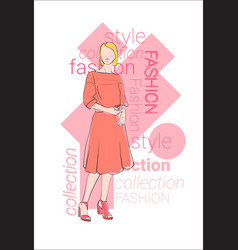 Female model wear fashion clothes collection vector