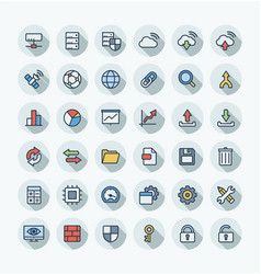 Flat color thin line icons set with big vector