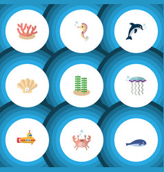 Flat icon marine set of hippocampus medusa vector