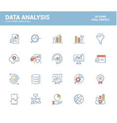 flat line filled icons design-data analysis vector image
