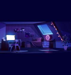 Girl bedroom interior on attic at night vector