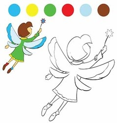 Girl flutters its wings to paint children vector