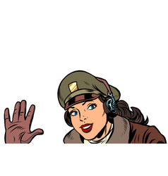 girl woman retro aviator pilot welcome gesture vector image