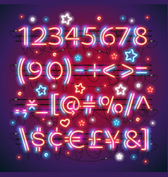 Glowing neon red blue numbers vector