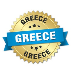 Greece round golden badge with blue ribbon vector