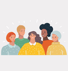 group of happy woman vector image