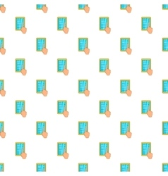 Hand on tablet puts crosses pattern cartoon style vector
