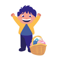 happy boy with eggs on basket easter vector image