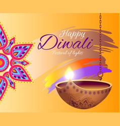 happy diwali festival of lights bright poster vector image