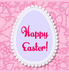 Happy easter card with egg banner lace vector