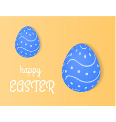 Happy easter eggs lie on a light yellow vector