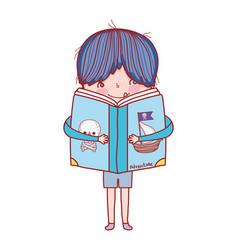 happy little boy reading book vector image