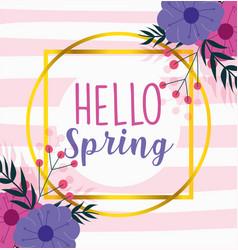 Hello spring season lettering flowers nature vector