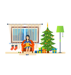 Housewife in quiet environment knits on couch vector