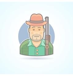 Huntsman with a gun hunting man icon vector