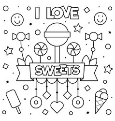 i love sweets coloring page vector image