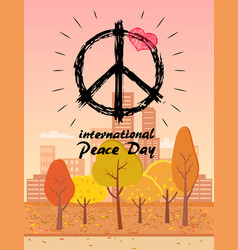 International peace day with hippie symbol vector