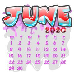june 2020 month calendar vector image
