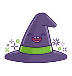 kawaii smiling halloween witch hat cartoon vector image