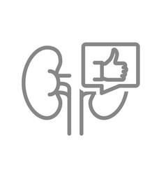 Kidneys with thumb up in speech bubble line icon vector