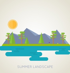 Landscape flat forest and mountains vector