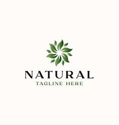 leaf flower green gradient logo template vector image