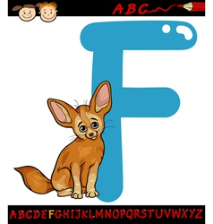 letter f for fennec fox cartoon vector image