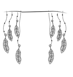 line beauty feathers hanging to design decoration vector image vector image