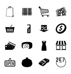 Market black and white flat icons set vector image