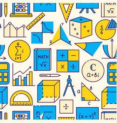 mathematics seamless pattern in colored line style vector image